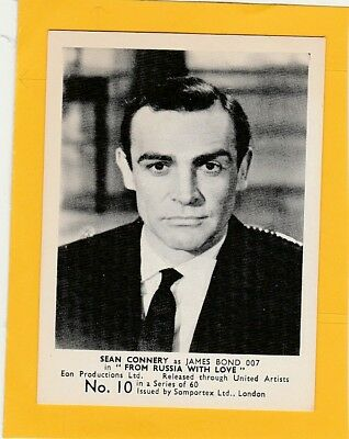James Bond 007 Trade Cards Somportex Ltd From Russia With Love No.10  Connery