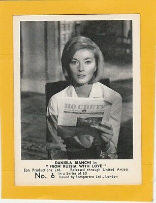 James Bond 007  Cards Somportex Ltd From Russia With Love No.6 Daniela Bianchi