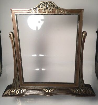 Antique Art Nouveau Wood Tilting Frame Vanity Mirror Picture Frame Gilt