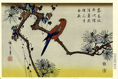 """Marvelous HIROSHIGE Japanese woodblock print: """"RED PARROT ON A PINE BRANCH"""""""
