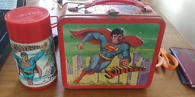 RARE Superman Movie vintage 1978 Metal Lunch Box WITH Thermos!!