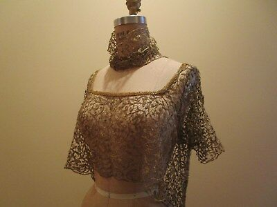 Antique Handmade Gold Metallic needle Lace Dress bodice Piece