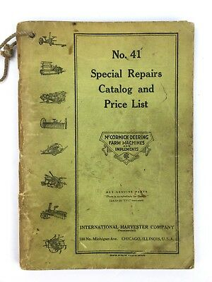 """No 41 McCormick Deering """"Special Repairs Catalog and Price List"""""""