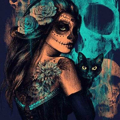 5D DIY Full Drill Diamond Painting Skull Face Cat Cross Stitch Mosaic Kit