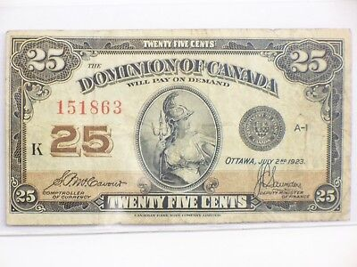 Dominion Of Canada 25 Cent Bank Note 1923 Ottawa McCavour & Saunders