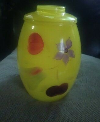 Vintage Bartlett Collins Hand Painted Yellow Glass Cookie Jar