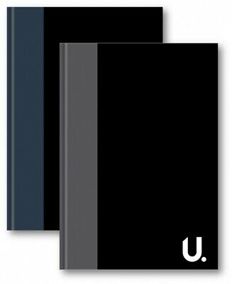 A4 Hardback Notebook Grey&Black Case Bound Ruled White 100 Pages Writing Papes