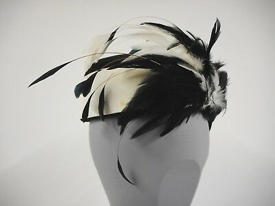 Striking vintage pillbox hat by Betti Marlowe black & white with feathers 1 size