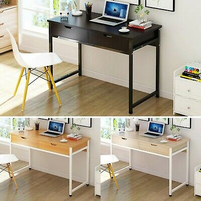 Computer Desk 2 Drawers Laptop PC Table Office Workstation Shelves Study Home UK