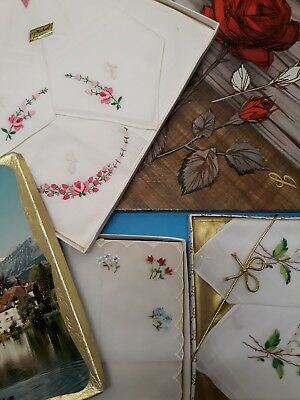 3 Vintage Boxed Set Of Embroidery Hankies .