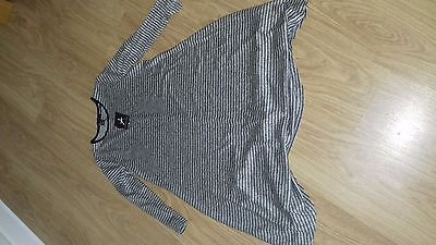 Bnwt Size 6 Grey And Black Striped 3/4 Sleeves Swing Dress