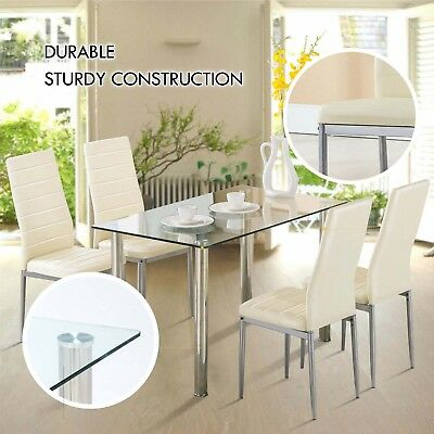 Dinning Glass Table Set w/ 4PCS Chairs Home Kitchen Breakfast Furniture White
