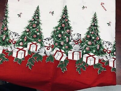"""True vintage 1940s cotton fabric-Christmas Trees & gray cats kittens-35x36"""""""