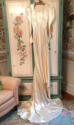 Vintage 1940's Liquid Satin Ivory Long Sleeve Wedding Gown With Train
