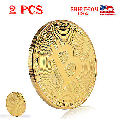 2X Bitcoin Coin Gold Plated BTC Limited Edition Collectible With Protective Case