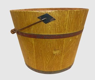 19Th Century Shaker Bucket With Faux Oak Painted Decoration - Very Good Cond.