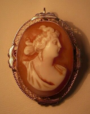 >> GORGEOUS Antique VICTORIAN 14k Gold CAMEO Combination BROOCH / PENDANT >>