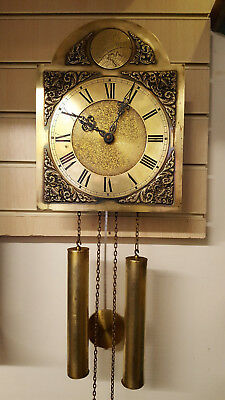 Vintage Brass Faced Weight Driven 8 Day Wall Clock with Ting Tang Strike