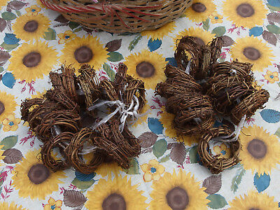 "Set/12 Mini Wreaths Grapevine Twig, approx 2"" Diameter for Xmas Decorations, NEW"