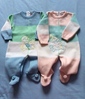 Twins Boy Girl Vintage Matching Knitted Rompers Jumpsuits New Size 0