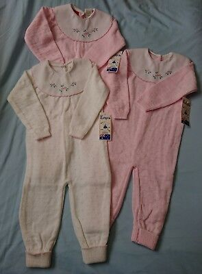 Vintage Marquise Baby Girls Size 1 Knitted Wool Jumpsuits Rompers NEW Quantity 3