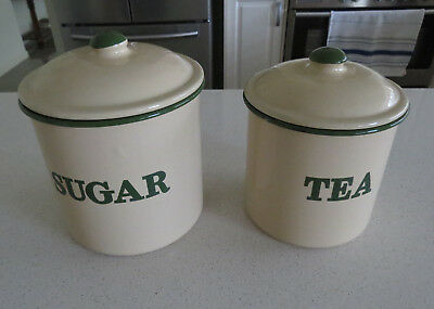 "2 Cream and Green Enamel Canisters  ""Sugar"" and ""Tea"" Excellent Condition...."