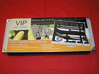 Bbq Vip Grill Master Cookout Gear  21 Pcs Stainless Steel Utensil Set Ytbbq9201A