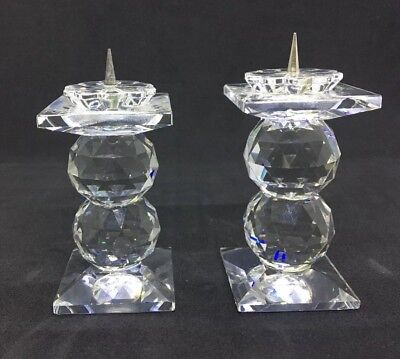 Set of 2 SWAROVSKI Retired Crystal Pin Candle Holders 7600 NR 109