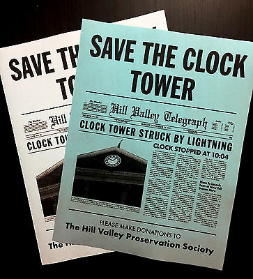 Back To The Future Save The Clock Tower Flier Set Prop/Replica Marty Mcfly > Fox