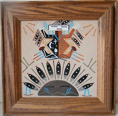 Navajo Sand Painting 'METTS with SUN' intricate Oak framed 8¾ x 8¾ inch square