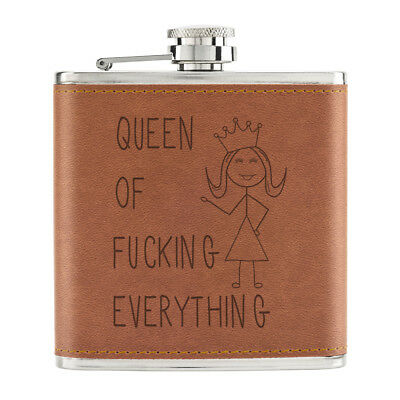 Queen Of F-King Everything Cita 170ml Piel Sintética Pu Petaca Marrón - Chicas