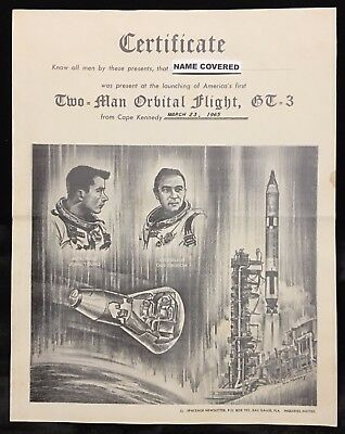 Gt-3 / Gemini (Grissom & Young) Certificate Of Witnessing Launch 11 X 14 Poster