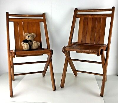Set 2 Child Folding Chairs Rless Tucker Wooden Duck Rubber Ar Slatted Vtg