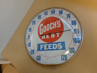 Vintage Gooch's Best Feeds Advertising Thermometer-Round Glass / Aluminum