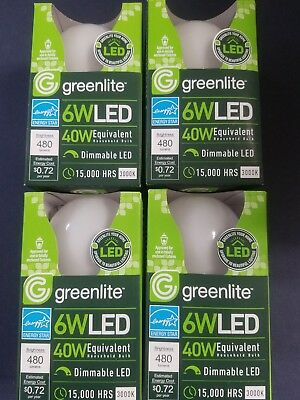 4 - 6W LED A19 40W Light Bulbs -NEW in Box Energy Saver Star by Greenlite