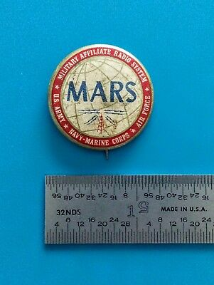 Military World War 2, MARS Radio Pin. 1940s Tin Litho.
