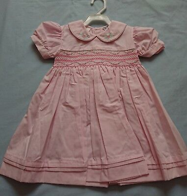 Vintage Marquise Baby Girls Dress Smock Size 1 Brand New pink party flowers