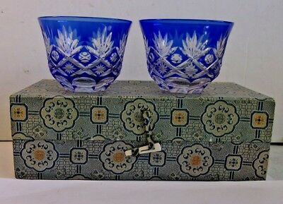 Kagami? Cut to Clear Crystal Sake Glass Set with His & Her Cups original package
