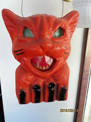 Occupied Japan Vintage Halloween Pulp Cat on Fence w Orig Insert Really Nice!