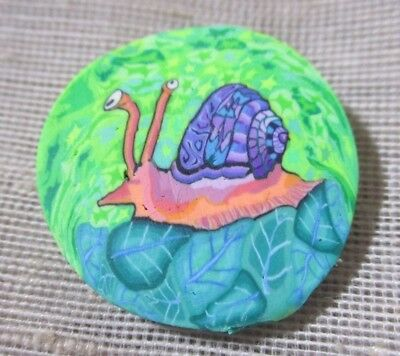 AMAZING POLYMER CANE BUTTON - COLORFUL PURPLE SILLY SNAIL w EYES detailed  7/8th