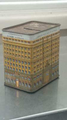 Vintage Commonwealth Bank Of Australia Money Box Tin Green and Gold