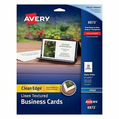 New Avery Linen-Textured Two-Side Clean Edge Business Cards for Inkjet Printers