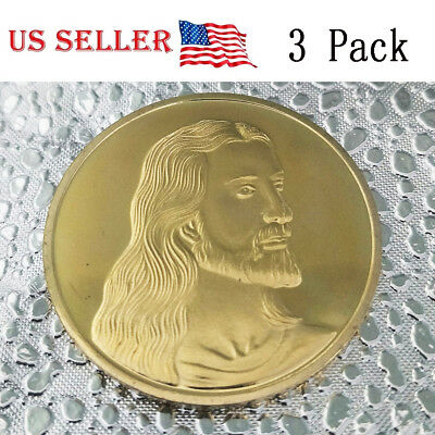 3 PC Jesus The Last Supper Commemorative Art Collection Coin Gold Plated