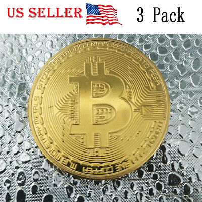 3PC Gold Bitcoin Commemorative Round Collectors Coin  Gold Plated US Ships