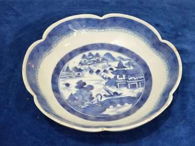 Chinese Export Blue & White Canton Porcelain Scalloped Bowl 19Th Century