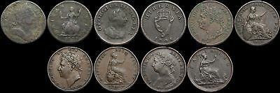 GREAT BRITAIN, Lot of 5 Farthings, 1773, 1806, 1825, 1826, 1884