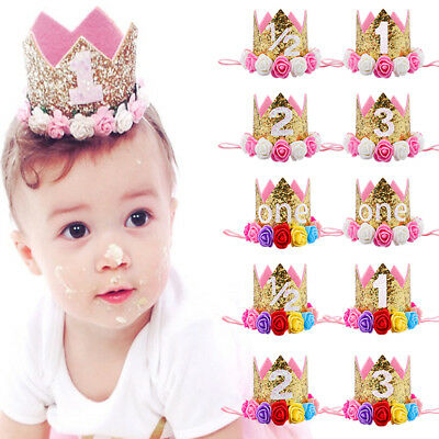 Baby Infant Kids Boys Girl Birthday Hat Flower Crown Hair Band Accessories Gift