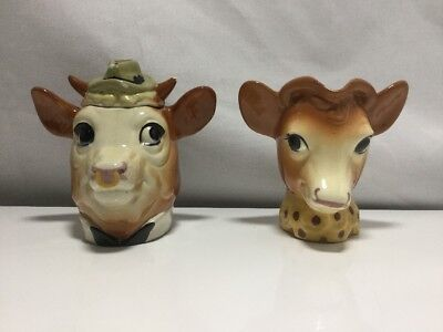 Borden's Elsie & Elmer 1950's Ceramic Creamer & Covered Sugar Set - Cow & Bull
