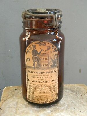 VINTAGE Ca.1910 MACCOBOY SNUFF BOTTLE with CONTENTS - INDIAN ON LABEL