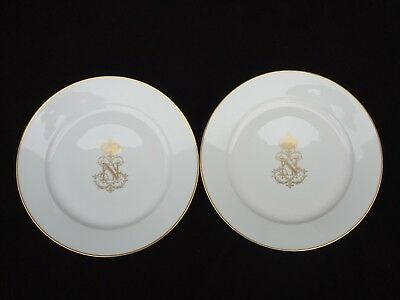 "Pair Of 19Th C. Sevres France Napoleon Iii Armorial 9 3/8"" Dinner Plates"